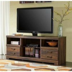 """Ashley Quinden 63"""" TV Stand in Dark Brown"""