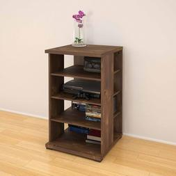 Audio Cabinet, Truffle Color, 4 Shelves, 3 Adjustable Shelve