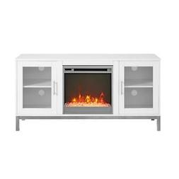 "WE Furniture 52"" Avenue Wood Fireplace TV Console with Metal"