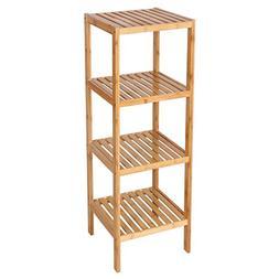 SONGMICS 100% Bamboo Bathroom Shelf 4-Tier Multifunctional S
