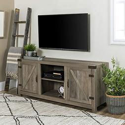 """58"""" Barn Door TV Stand with Side Doors - Grey Wash"""