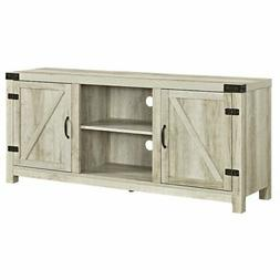 Barn Door TV Stand in White Oak