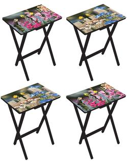 Birds and Flowers Folding TV Tray Tables - Set of 4, Colorfu