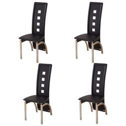 Set of 4 Black Dining Chairs w/Open Spots Backrest Leather D