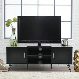 Black Finish TV Entertainment Center Console Cabinet Stand w