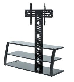 """Black Glass Floor TV Stand Extra Wide With Mount For 32"""" - 6"""
