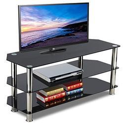 Topeakmart Black Glass TV Stand Chrome Legs 3 Tier Storage S