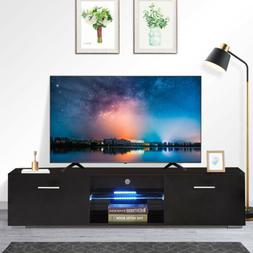 "63"" High Gloss Black LED Shelves TV Stand Unit Cabinet Drawe"