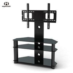 Black Tempered Glass TV Stand Chrome TV Bracket LCD Plasma L