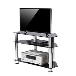 Rfiver Tempered Glass Small Corner TV Stand Suit for LED, LC