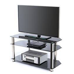 Rfiver Tempered Glass Corner TV Stand in Black Suit for LED,