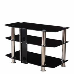 "Black TV Stand 3 Glass Shelves Storage 15""-60"" LCD PLASMA LC"