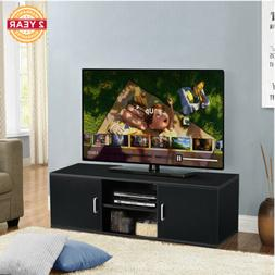 Black TV Stand Cabinet Bench Modern Furniture Living Room Be