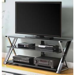 "Whalen Black TV Stand for 65"" Flat Panel TVs with Tempered G"