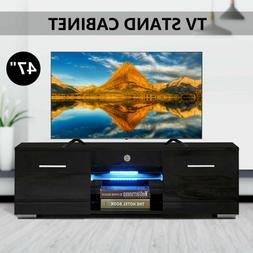 Black TV Stand Unit Cabinet w/2 Drawers Media Console LED Sh