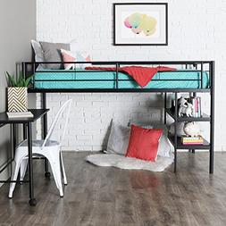 Walker Edison Black Twin Loft Bed with Desk and Shelving