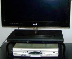 BLACK WOOD TV MONITOR SWIVEL BASE TURNTABLE STAND ROTATING 2