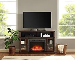 "Whalen Furniture Brixham 54"" Media Fireplace Console, Brown"