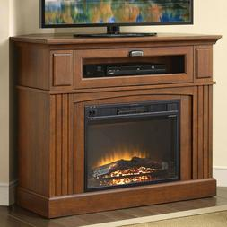 Brown Corner Electric Fireplace Cabinet Heater Space Saver L