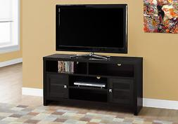 Monarch Specialties I 2704 Cappuccino with Glass Doors TV St