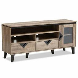"Baxton Studio Cardiff 55"" Wood TV Stand in Distressed Oak"