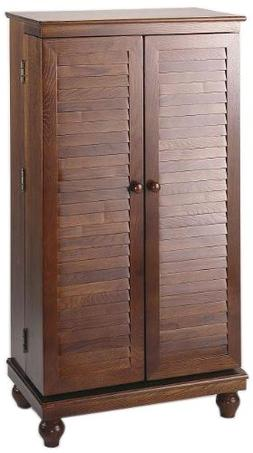 Leslie Dame CD-612VM Solid Oak Mission Style Multimedia Stor