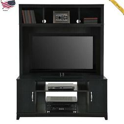 Entertainment Center Wall Unit Media Cabinet Black Furniture