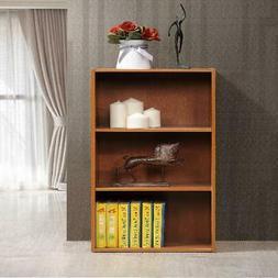 Cherry Finish Bookcase W/ 3-Shelf Home Living Room Storage R