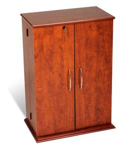 Cherry & Black Locking Media Storage Cabinet