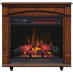 Cherry Wood Electric Fireplace Mantel Infrared Heater Smokel