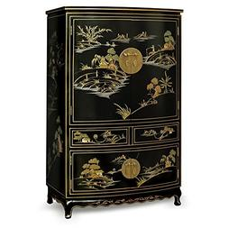 China Furniture Online Chinoiserie TV Armoire, Hand Painted