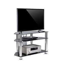 TAVR Black Tempered Glass Corner TV Stand with Cable Managem