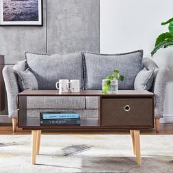 Coffee Table with Storage Drawers Shelf End Side Tables TV S