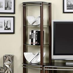 Contemporary Black Tempered Glass 2 Pier Brown and Silver En