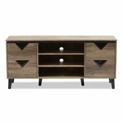Contemporary Design TV Stand 4-Drawer 55-Inch Light Brown Wo