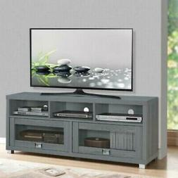 """Contemporary TV Stand 75"""" Flat Screen Gray Console Entertain"""
