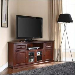 "Pemberly Row 60"" Corner TV Stand in Vintage Mahogany"