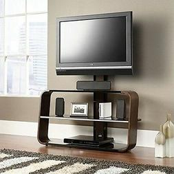 Sauder 413960 Corsair TV Stand with Mount, Black/Seasoned Ch