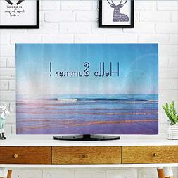 L-QN Cover for Wall Mount tv Summer Text Over Wide Seaside S