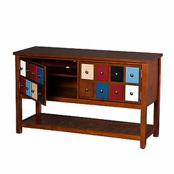 CTS40999 BROWN MAHOGANY 2 MULTICOLOR DOORS CONSOLE / T.V STA