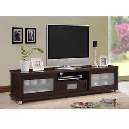 Dark Brown Wood 70 inch TV Stand Media Entertainment Console