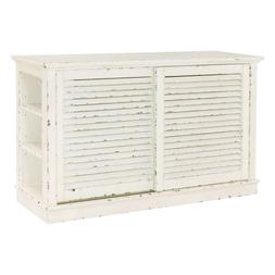 Distressed White Shutter Media Center - TV Stand Cottage - H