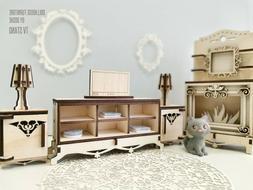 Dollhouse Furniture - TV STAND - Miniature Laser cut wood Do