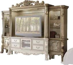 "Dresden Carved Wood 68"" TV Entertainment Wall Unit In Anti"