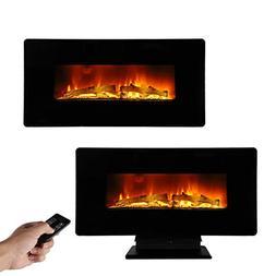 "ROVSUN 36"" Electric Fireplace 1400W,2 in 1 Logs Wall Mounted"
