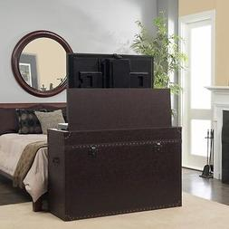 "Touchstone Ellis trunk cabinet in aged cigar lifts 46"" TV. W"