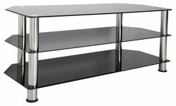 Entertainment Center Tv Stand Tempered Glass Chrome 55 Inch