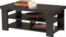 Espresso Coffee Table Living Room Furniture Sofa Storage End