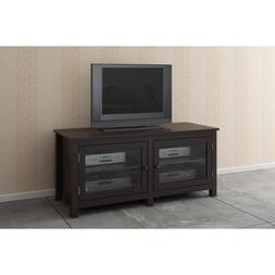 Espresso / Glass Doors TV LCD Plasma Stand / Media Console