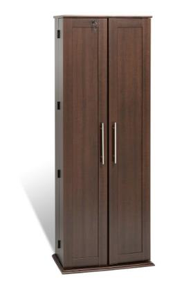 Espresso Grande Locking Media Storage Cabinet with Shaker Do